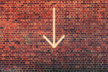 arrow down wall