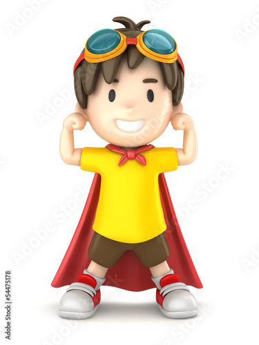 3d render of a superhero boy