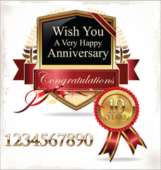 Anniversary golden label with ribbon