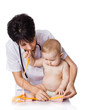 beautiful doctor and baby on a white background. Doctor measures