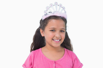 Little girl wearing tiara for a party