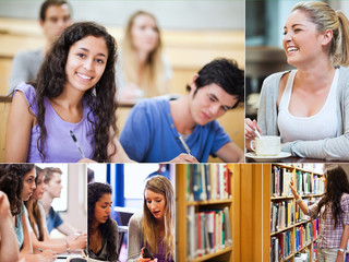 Collage of pictures showing students
