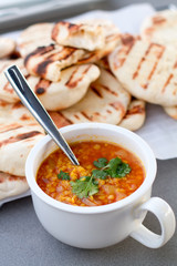 Red lentils with naan