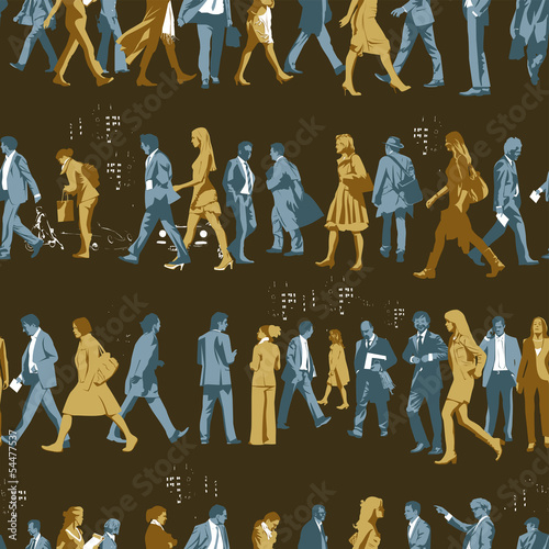 Busy People Motif Seamless Pattern