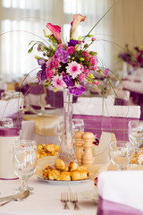 flower decoration on wedding table
