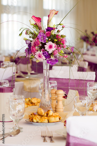 flower decoration on wedding table