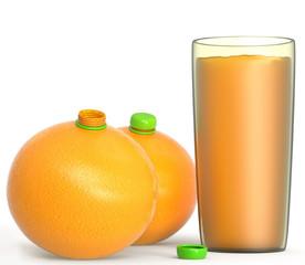 Naranjas con tapón y vaso de zumo