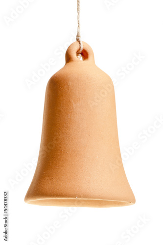 handmade clay bell hanging from a rope