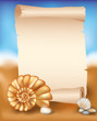Blank paper scroll on summer background with seashell