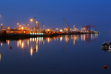Dublin Port at night as seen from the East-Link Toll Bridge