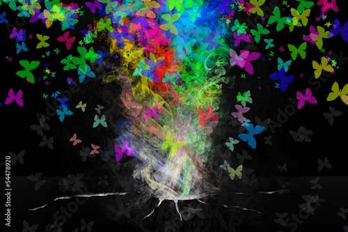 Abstract colorful butterflies