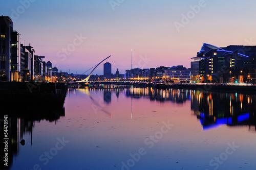 Poster North bank of the river Liffey at Dublin City Center at night