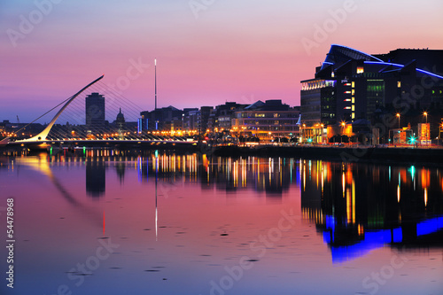 North bank of the river Liffey at Dublin City Center at night Poster