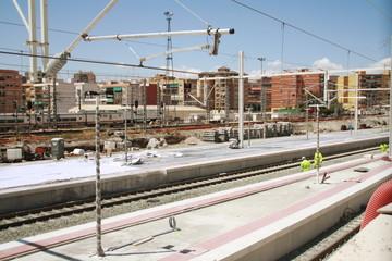 obras de construcción ferroviaria