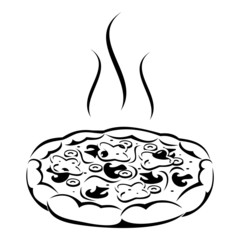 Pizza. Vector black silhouette.