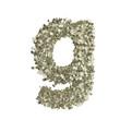Kleiner Buchstabe g gebildet aus Dollar Banknoten