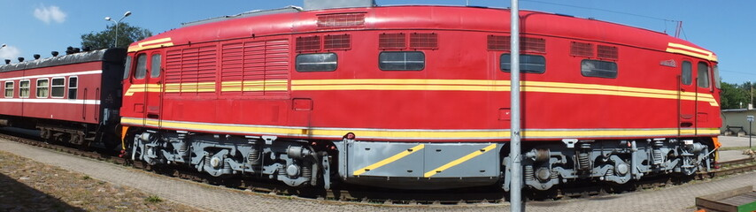 Red diesel locomotive