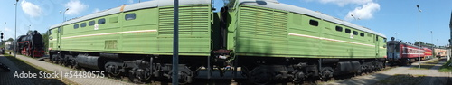 Green diesel locomotive