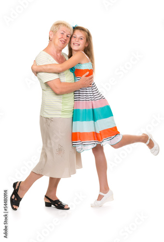 Grandmother with her granddaughter in the studio