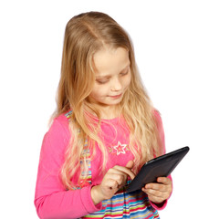 little girl using a touch screen computer