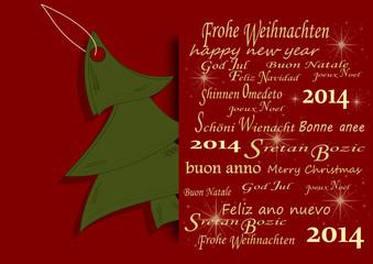 Weihnachtskarte mit Tannenbaum, 2014