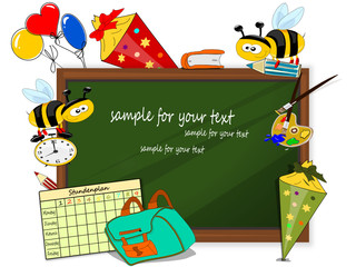 Erster Schultag, Tafel Illustration