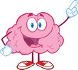Happy Brain Character Pointing With A Finger