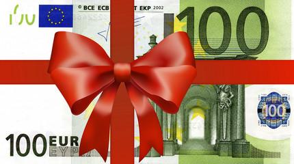 100 Euroschein mit breiten Geschenkband