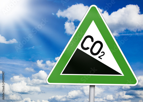 Leinwandbild Motiv Schild mit CO2