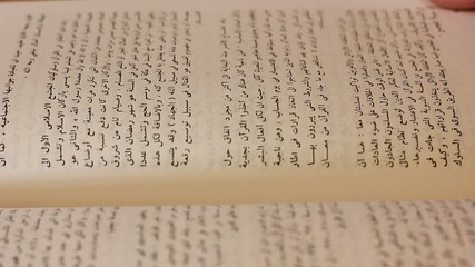 leafing through Arabic book