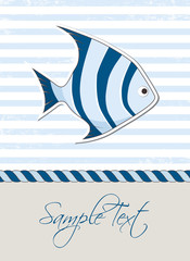 Nautical background with fish, marine card