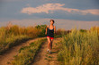 beautiful runs healthy young brunette woman athlete running outd