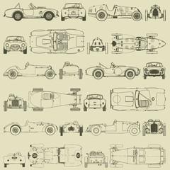 Seamless pattern , vintage sports racing cars.