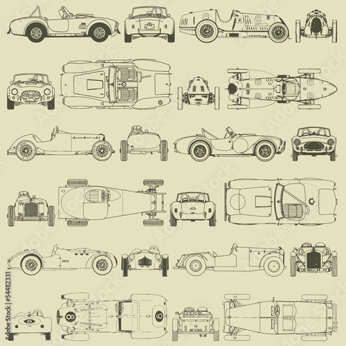 Seamless pattern , vintage sports racing cars.