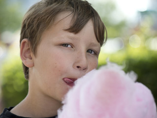 Boy with candyfloss