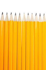 Group of eleven vertical new yellows pencils