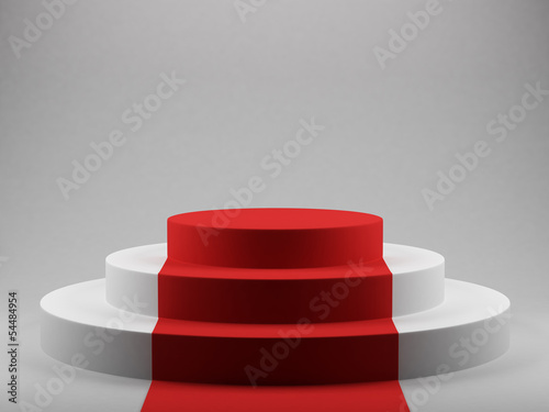 podium with red carpet