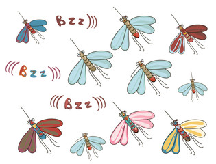 set of funny cartoon mosquitos