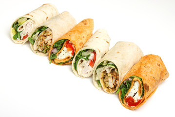 Variety of Wrap Sandwiches