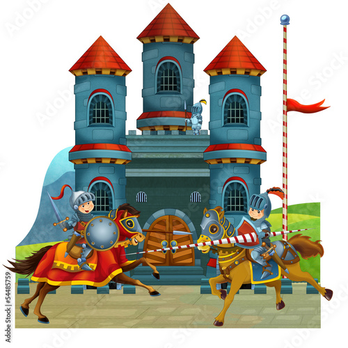 Tuinposter Ridders The cartoon medieval illustration for the children