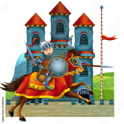 The cartoon medieval illustration for the children