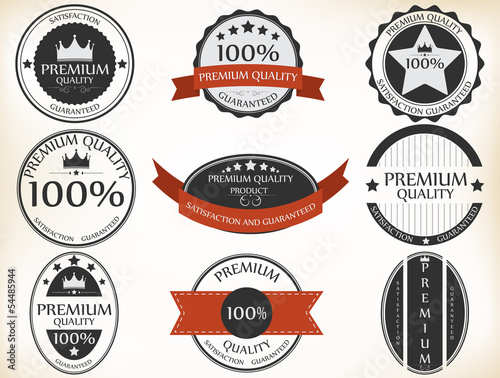 Premium Quality and Guarantee Labels with retro vintage style