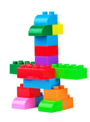 Toy bird made from toy colorful building blocks