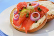 Smoked salmon lox on Asiago cheese bagel
