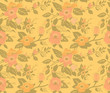 seamless; pattern; flower; vintage; dog rose; gold