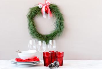 DIY christmas wreath made of pine needles, christmas table decor