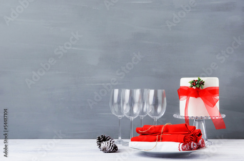 SImple minimalist christmas display table with cake