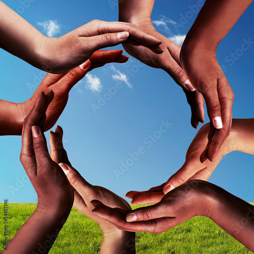 Black Hands Making a Circle Together