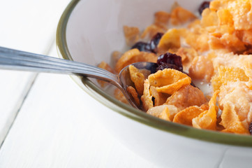Cornflakes Breakfast Close up