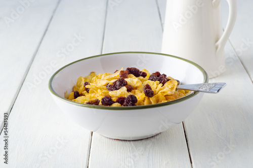 Bowl of Cornflakes and Milk Jug